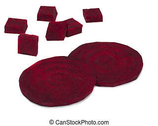 Pieces of beetroot on white background