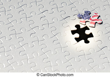 pieces of blank american flag jigsaw puzzle on the jigsaw background