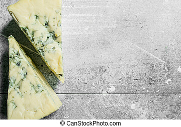Pieces of blue cheese.
