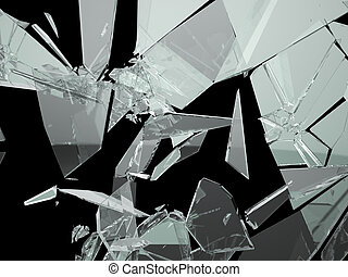 Pieces of Broken and Shattered glass on black
