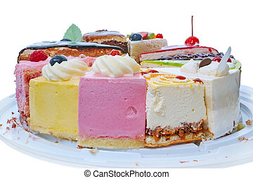 Pieces of cake side view