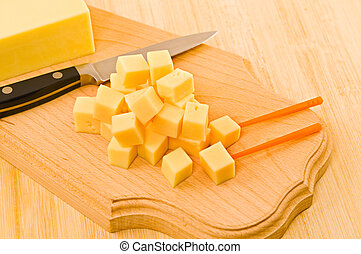 Pieces of cheese.