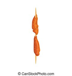 Pieces of chicken pulp on a skewer. Vector illustration on white background.