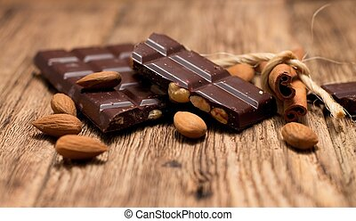 Pieces of chocolate and cinnamon