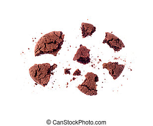 pieces of chocolate chip cookie on a white background