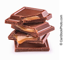 pieces of chocolate with filling on a white background