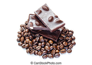 pieces of chocolate with nuts and coffee beans on white...
