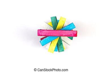 Pieces of color chalk