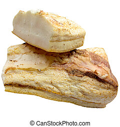Pieces of crude fat of pork are isolated on a white background.