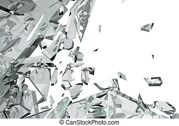 Pieces of demolished or Shattered glass on white - Pieces of...