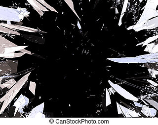 Pieces of demolished or Shattered glass isolated on black....