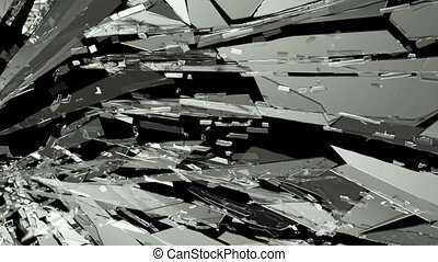 Pieces of destructed Shattered glass in slow motion. Alpha matte