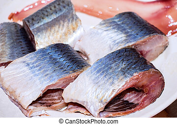 Pieces of herring on the plate