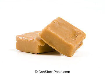Pieces of Fudge - Two pieces of fudge isolated on white...