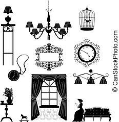 Pieces of furniture retro interior