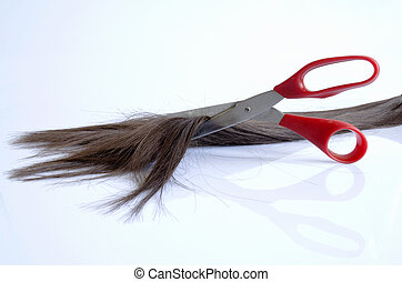 Pieces of hair cut with red scissors