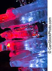 pieces of ice illuminated
