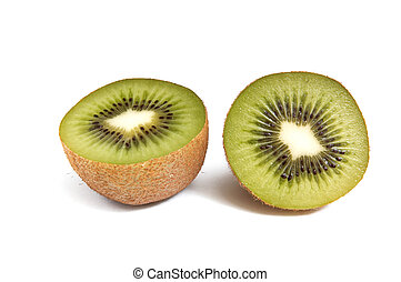 Pieces of kiwi on white background.