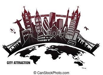 landmarks from around world in grunge style - pieces of...