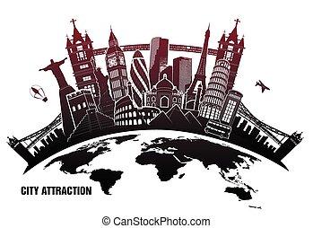 landmarks from around world in grunge style