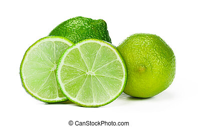 Pieces of lime isolated on white background