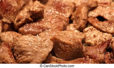 Pieces of meat fried in a frying pan