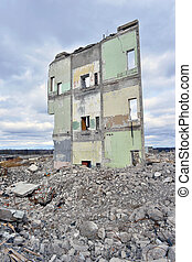 Pieces of Metal and Stone are Crumbling from Demolished ...