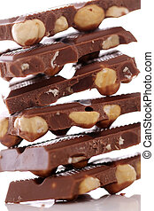 Pieces of milk chocolate with nuts