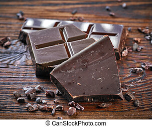 Pieces of natural dark chocolate