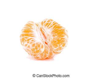 Pieces of orange tangerine isolated over white background