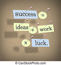 Pieces of paper each containing a word pinned to a cork board reading Success Equals Ideas Plus Work Times Luck