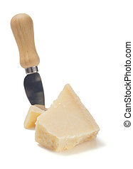 pieces of parmesan cheese on white