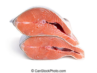 Pieces of pink salmon isolated on white background