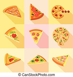 Pieces of pizza icons set, flat style