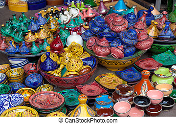 Pieces of Pottery in Marrakech, Morocco