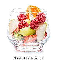 Pieces of raspberries, strawberries and tangerines