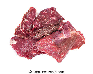 Pieces of raw beef meat