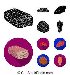 Pieces of salami, turkey fillet, grilled steak, kebab. Meat set collection icons in black, flat style bitmap symbol stock illustration web.