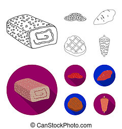 Pieces of salami, turkey fillet, grilled steak, kebab. Meat set collection icons in outline, flat style bitmap symbol stock illustration web.