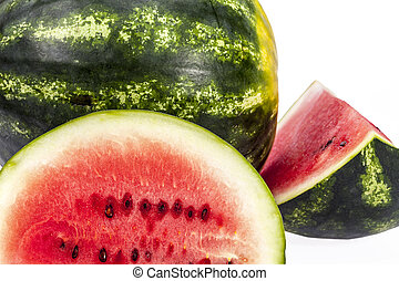 pieces of sliced watermelon isolated on white background