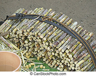Pieces of Sugarcane on a barrow foe sell, India