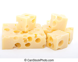 pieces of swiss cheese isolated on white background