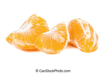 Pieces of tangerine on white background