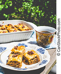 pieces of Turkish baklava with honey and walnuts in a white bowl, a green garden background