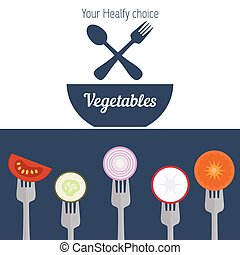 Pieces of vegetables on forks