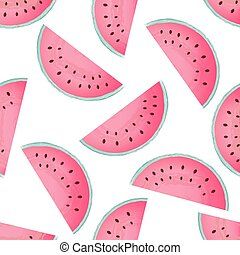 Pieces of watermelon seamless pattern. Summer vector background.
