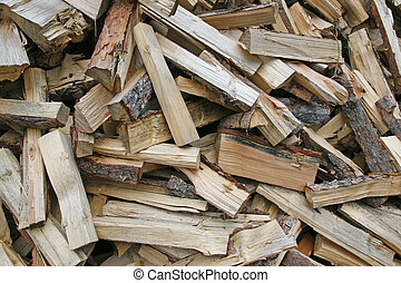 pieces of wood cut from lumberjack
