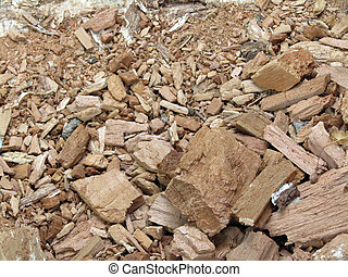 pieces of wood lying on the ground. Texture stock photo