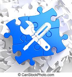 pieces:, rompecabezas, concept., servicio