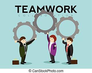 pieces., trabajo en equipo, hombres de negocios, tenencia, engranaje